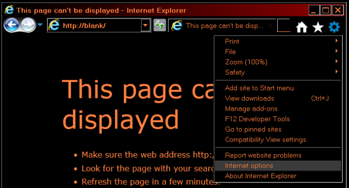 How to change background color and text color in Internet Explorer