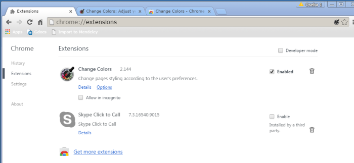 How to change Google Chrome background color and text color - Extensions
