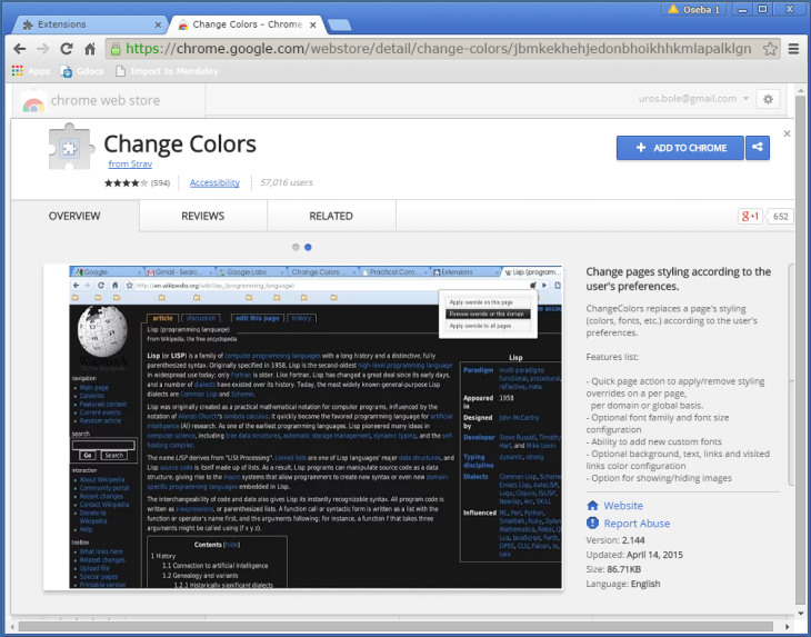 How to change Google Chrome background color and text color