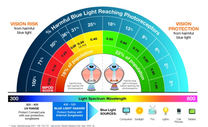 eyes sensitive to light-macular pigment bluelight filtering statistics