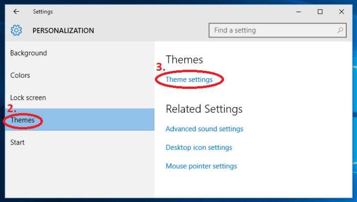 Windows 10 change colors desktop PERSONALIZATION-theme-theme settings