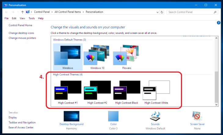 Windows 10 change colors select a high contrast theme