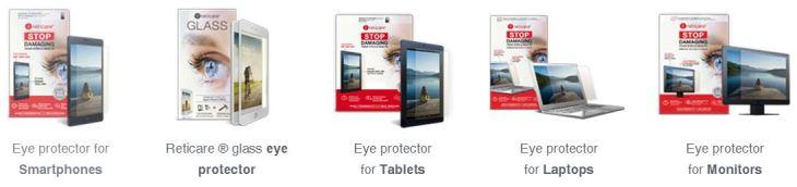 RetiCare blue light screen filter desktop laptop tablet smartphone