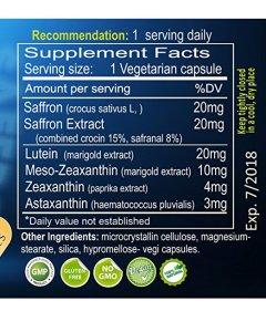 Lutein-zeaxanthin-meso-zeaxanthin eye supplement_Exir Vision Max 20-20_Supplement facts