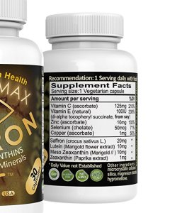 Lutein-zeaxanthin-meso-zeaxanthin eye supplement_Exir Vision Max Suffron AREDS 2_Supplement facts