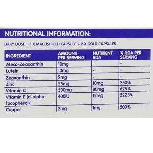 Lutein-zeaxanthin-meso-zeaxanthin eye supplement_Macushield GOLD_Nutritional Info