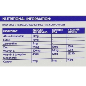 Lutein-zeaxanthin-meso-zeaxanthin eye supplement_Macushield GOLD_Nutritional Info