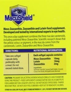 Lutein-zeaxanthin-meso-zeaxanthin eye supplement_Macushield_Nutritional info