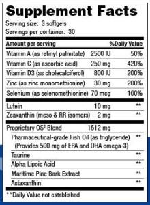 Lutein-zeaxanthin-meso-zeaxanthin eye supplement_OS 2 Ocular Support_Supplement Facts