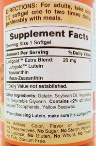 Lutein-zeaxanthin-meso-zeaxanthin eye supplement_Puritans Pride Lutigold_Supplement facts