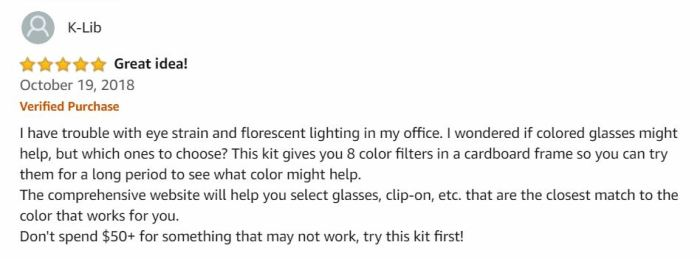 blue light filter glasses - amazon review 1