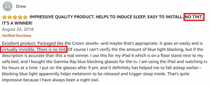 Cyxus Best blue light screen protector Amazon Review