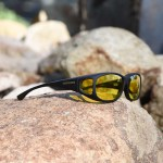 Special glasses for macular degeneration vs over-glasses - cocoons fit-overs lemon yellow