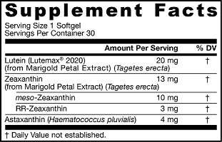 Lutein-zeaxanthin-meso-zeaxanthin eye supplement_Jarrow Formulas Macula Protective Factors_Supplement Facts