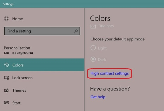 Windows 10 change colors Personalize-Colors-High contrast settings