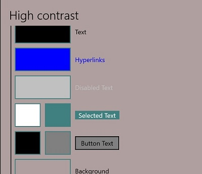 Windows 10 change colors Personalize-Colors-High contrast settings dialog box